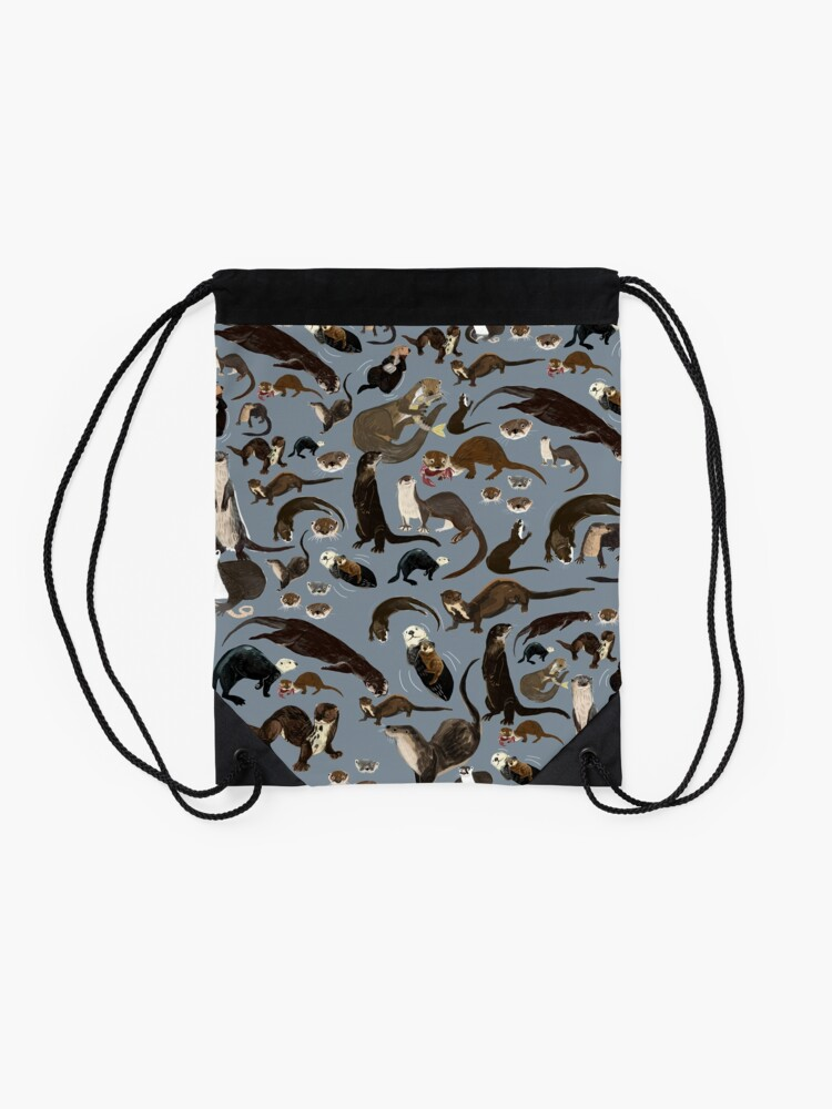 Alternate view of Old World otters Drawstring Bag