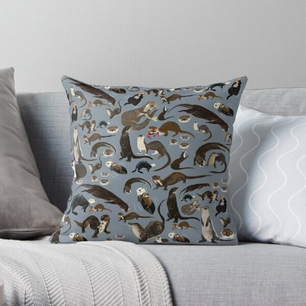 Old World otters Throw Pillow