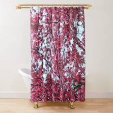 Magical Cherry Blossoms - Dark Pink Floral Abstract Art - Springtime Shower Curtain
