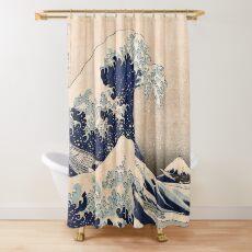 Klassische japanische große Welle weg von Kanagawa durch Hokusai-Wand-Tapisserie-traditionelle Version HD-hohe Qualität Duschvorhang