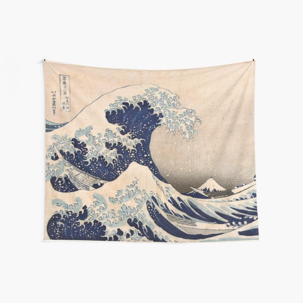 Klassische japanische große Welle weg von Kanagawa durch Hokusai-Wand-Tapisserie-traditionelle Version HD-hohe Qualität Wandbehang