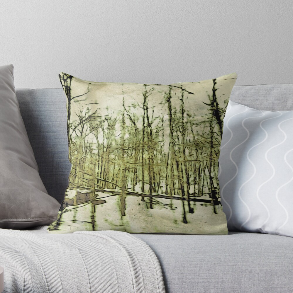 Nature Lovers Gift - Into the Woods Part Deux - Neutral Colors Decor Throw Pillow