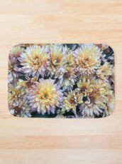 Gift for Gardener - Mumsified - Light Yellow and Pink Mums Bath Mat