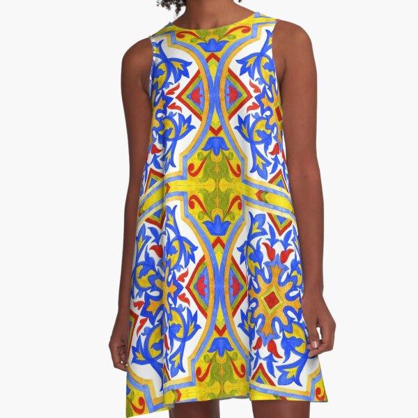 Portuguese azulejo tiles. A-Line Dress
