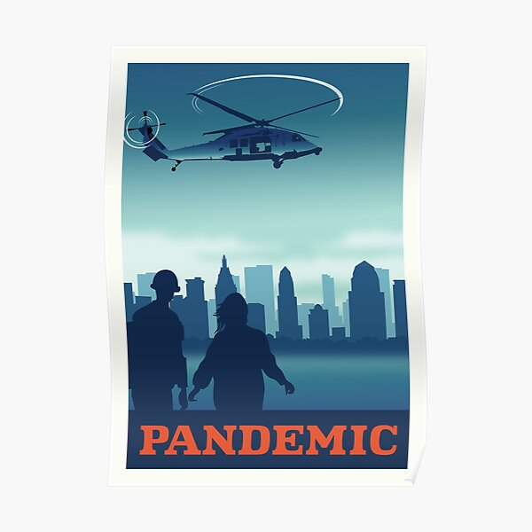 Pandemic Board Game- Minimalist Travel Poster Style - Gaming Art Poster