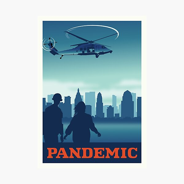 Pandemic Board Game- Minimalist Travel Poster Style - Gaming Art Photographic Print