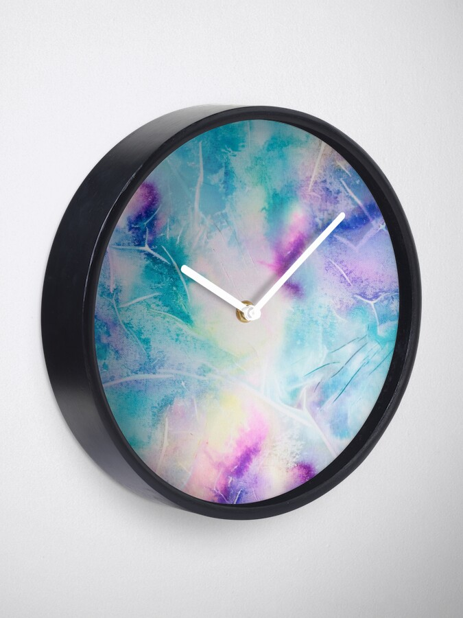 Alternate view of Inky pastel colorful handpainted texture Clock