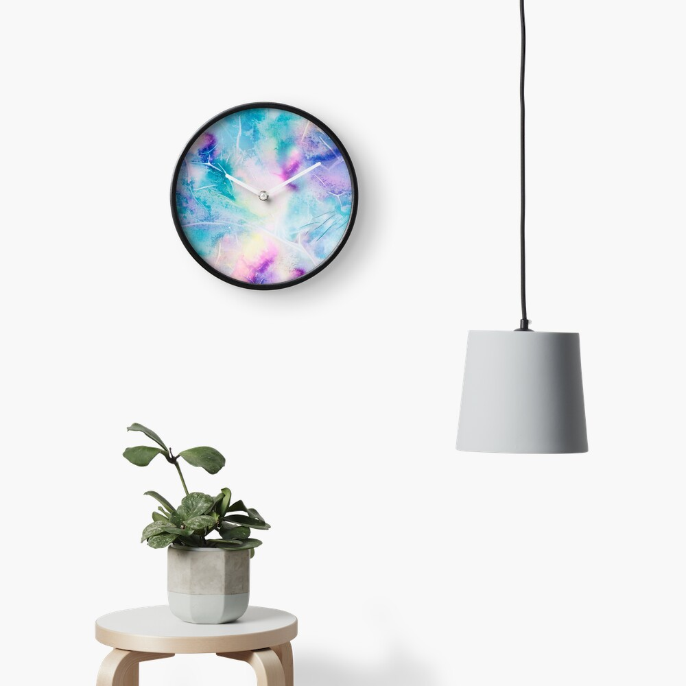 Inky pastel colorful handpainted texture Clock