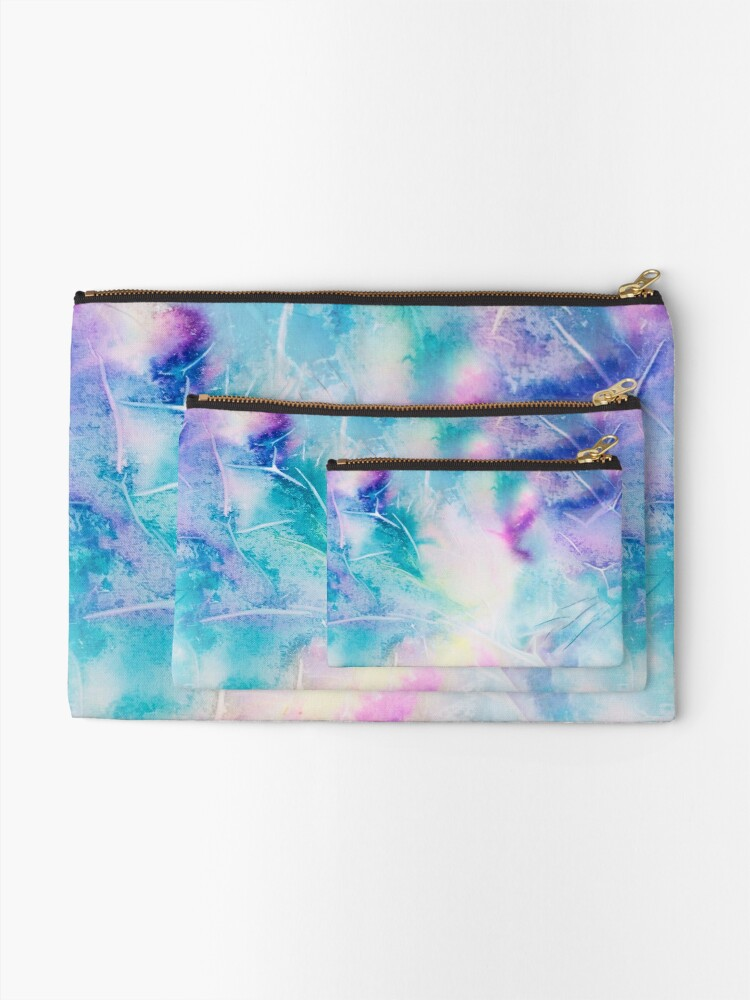 Alternate view of Inky pastel colorful handpainted texture Zipper Pouch
