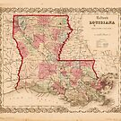 Louisiana Map von J.H. Colton (1855) von allhistory