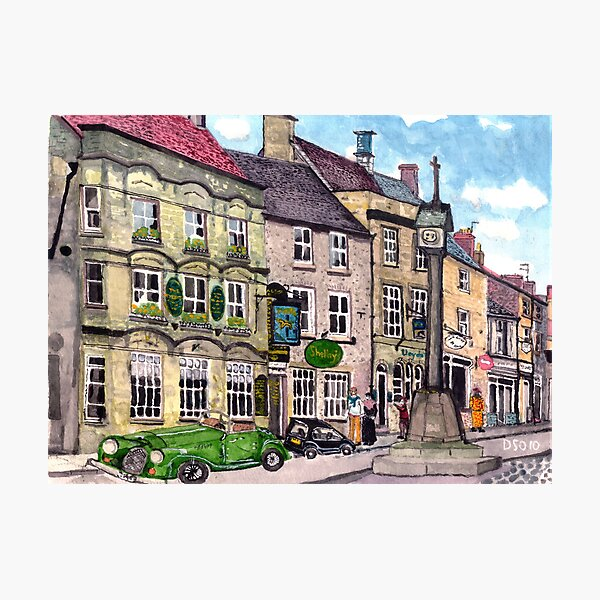 Stow on the Wold market placet, the Talbot Arms Photographic Print