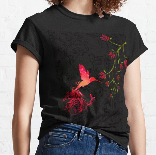 Scarlet Red Twilight Damask Hummingbird fantasy art Classic T-Shirt