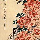 Bachstelze und Rosen von Utagawa Hiroshige (Reproduktion) von RozAbellera