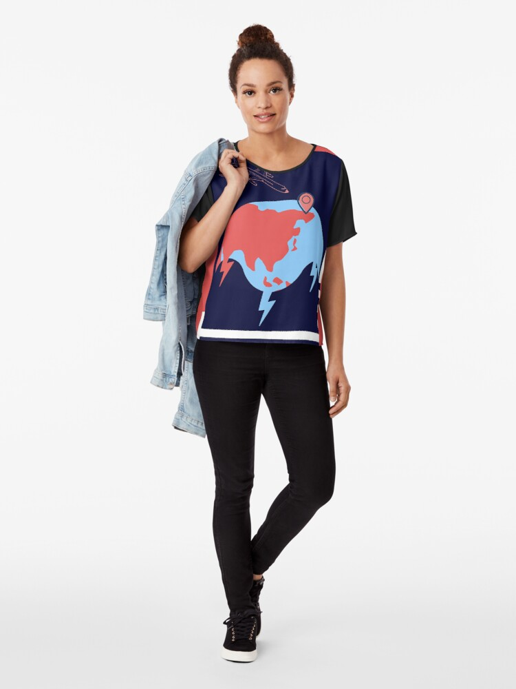Alternate view of Abstract World Chiffon Top