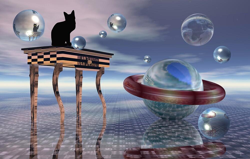 Kitty meets an alien cat by walstraasart
