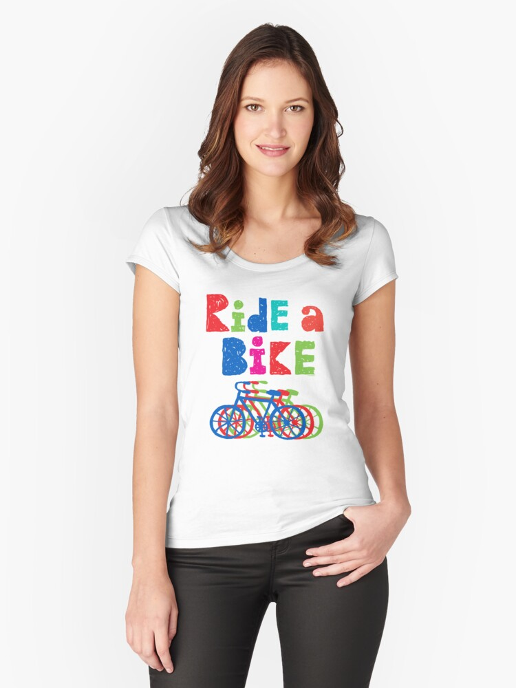 Ride a Bike sketchy - white T Women's Fitted Scoop T-Shirt Front