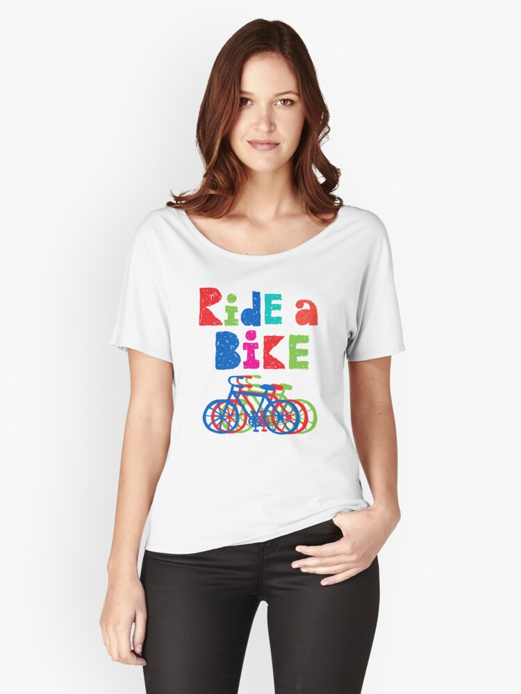 Ride a Bike sketchy - white T Women's Relaxed Fit T-Shirt Front