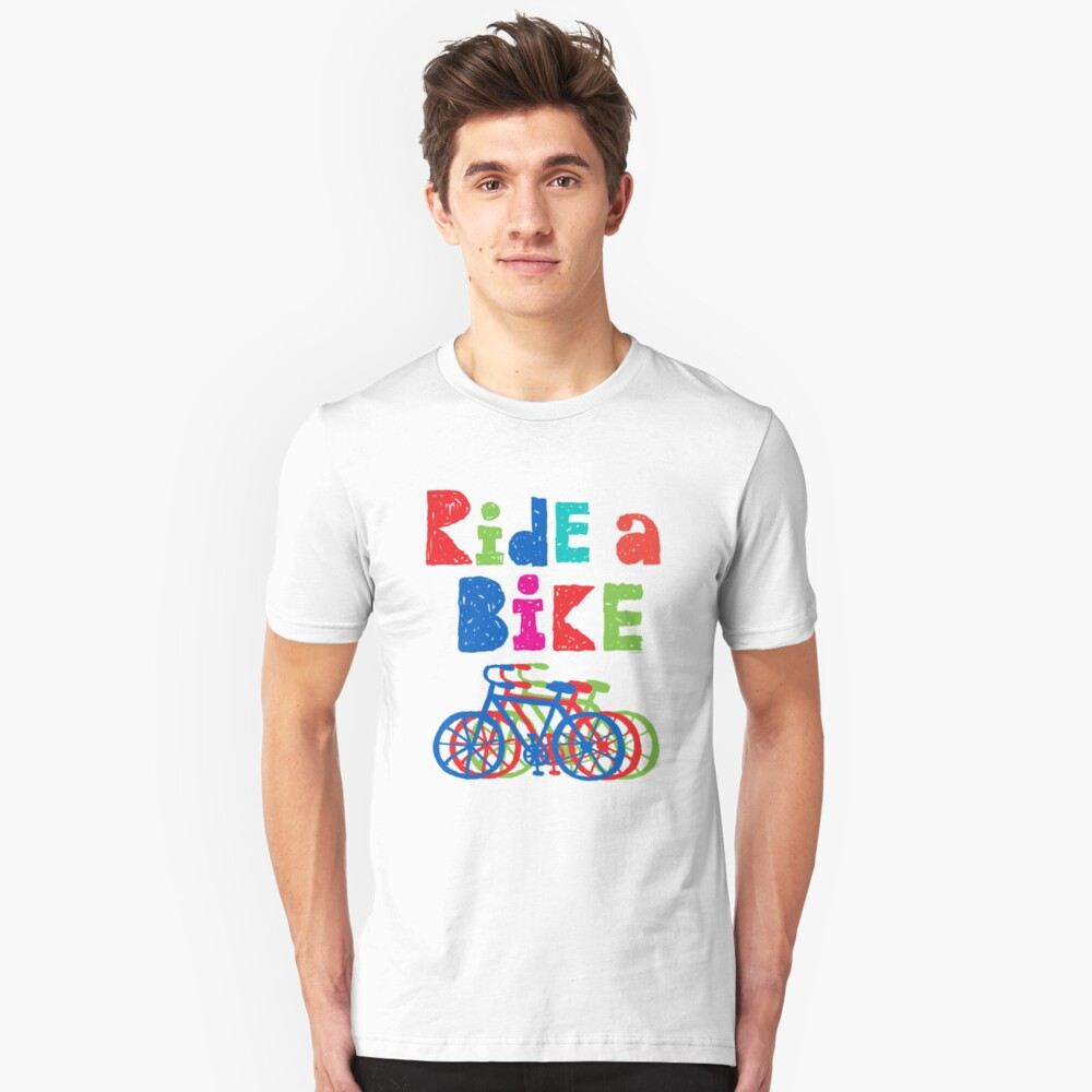 Ride a Bike sketchy - white T Unisex T-Shirt Front