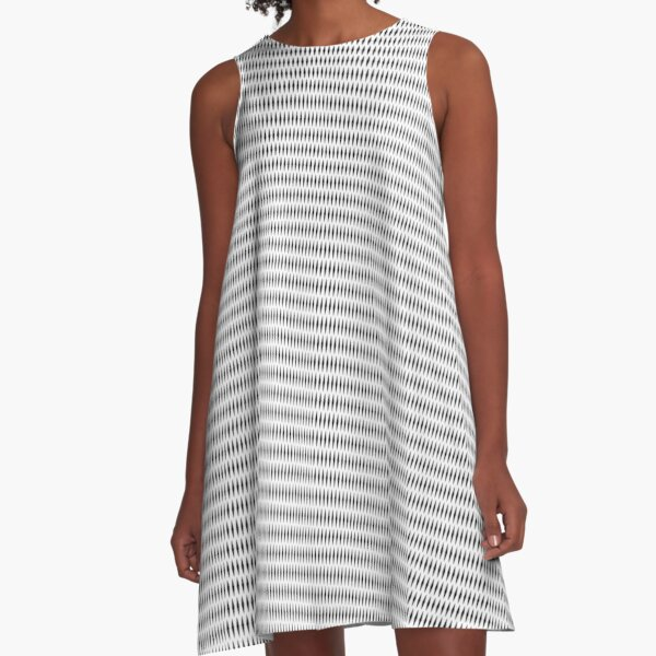 #Pattern, #design, #abstract, #textile, fiber, net, aluminum, grid, cotton, gray A-Line Dress