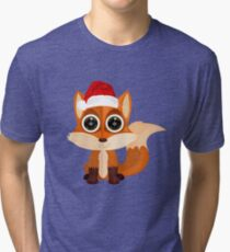 Christmas Fox (2) Tri-blend T-Shirt