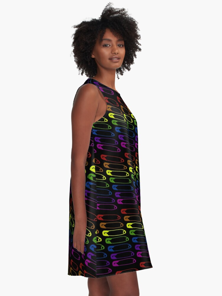 Alternate view of Safe with me rainbow safety pin A-Line Dress