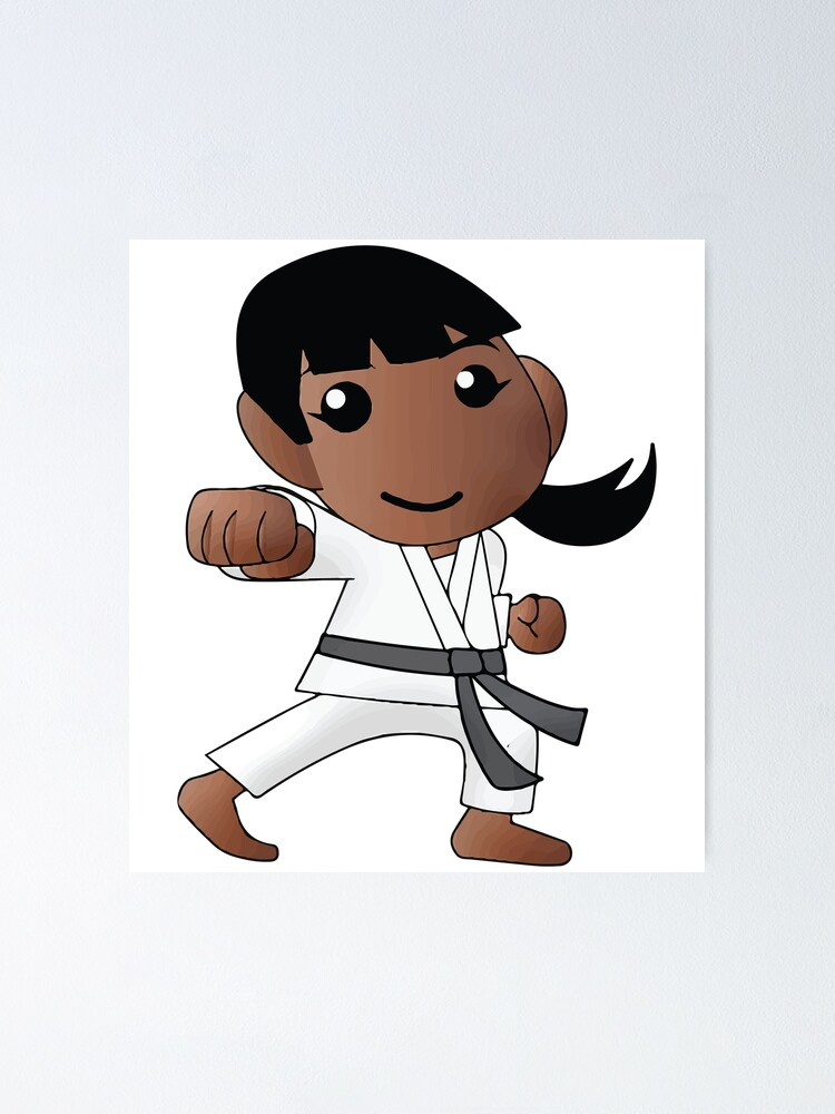 Karate Girl Punch Kawaii Cute Anime Cartoon Character Poster By Coolfactormerch Redbubble