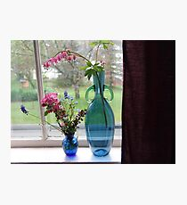 Bouquets in Blue Vases Photographic Print
