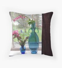 Bouquets in Blue Vases Throw Pillow
