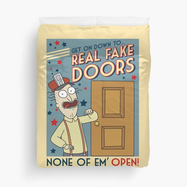 Funny Rick and Morty Real Fake Doors Interdimensional Cable Advertisement  Duvet Cover
