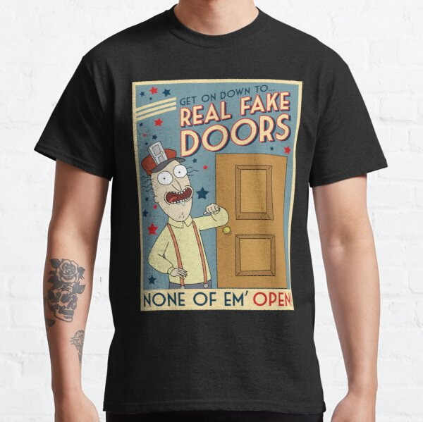 Funny Rick and Morty Real Fake Doors Interdimensional Cable Advertisement  Classic T-Shirt