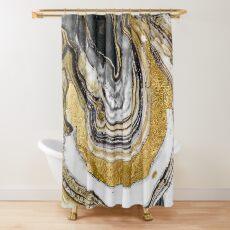 Stein Prose Gold Geode Duschvorhang