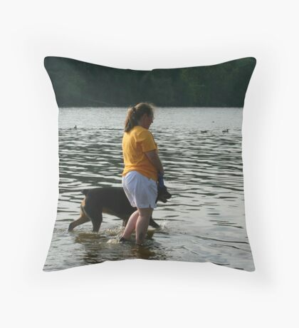 Strolling Along The River Throw Pillow