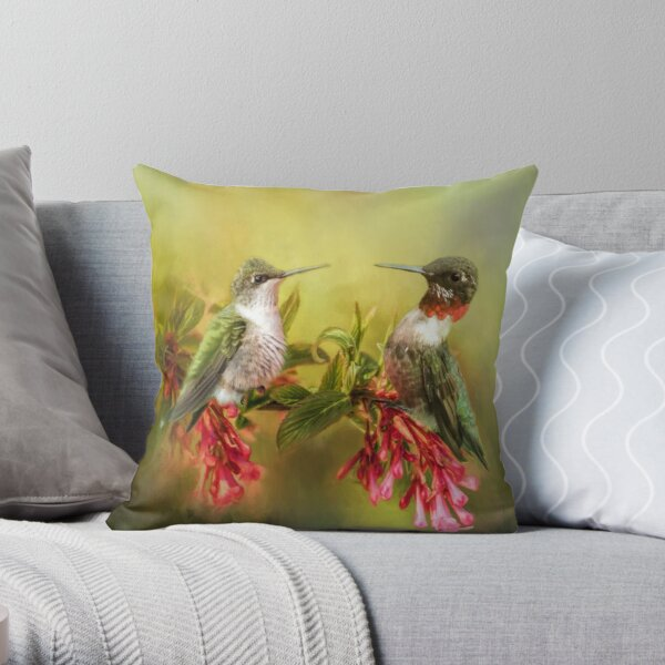 Ruby Throated Hummingbird Pair Throw Pillow