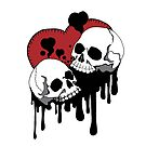Deadly Pair Skull Hearts by DianaLevinArt