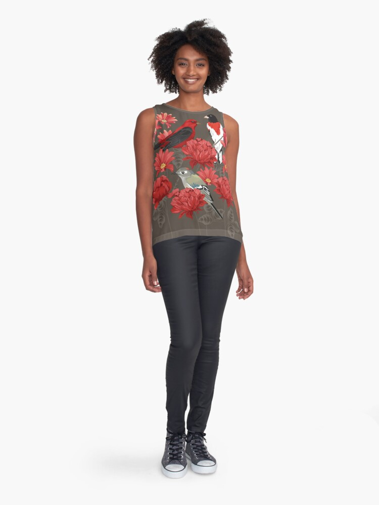 Alternate view of Birds and Roses Sleeveless Top