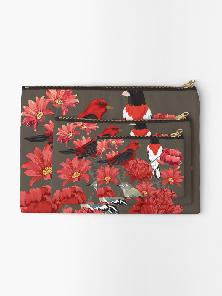 Alternate view of Birds and Roses Zipper Pouch
