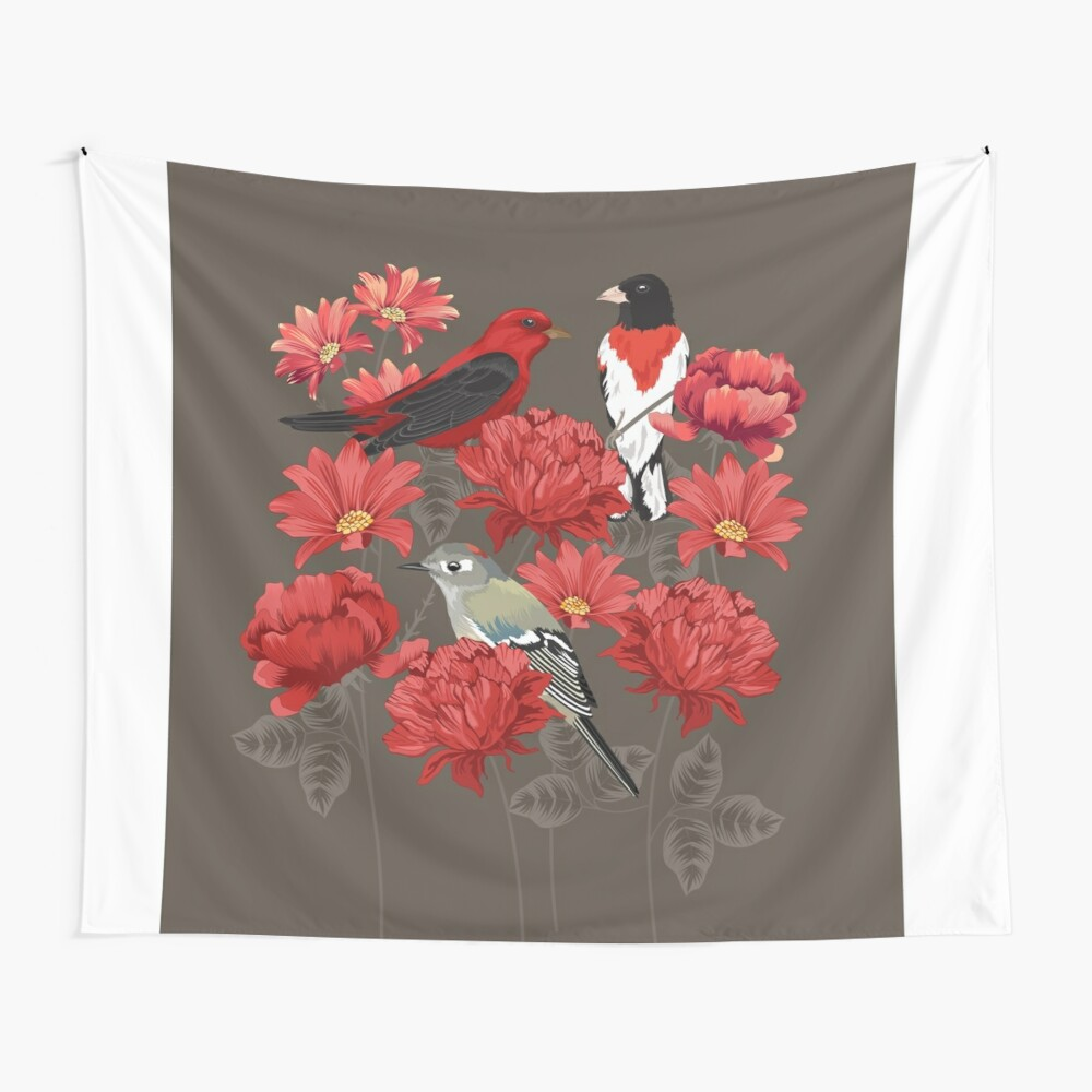Birds and Roses Wall Tapestry