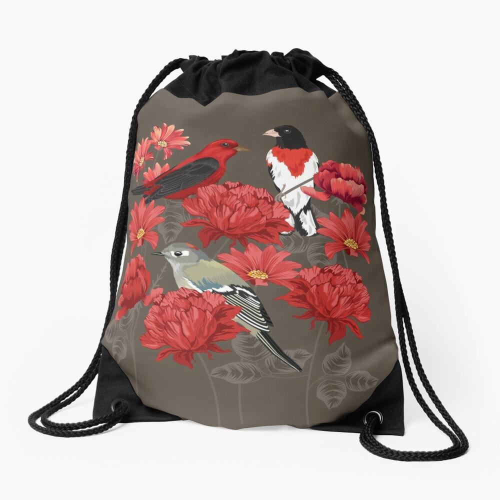 Birds and Roses Drawstring Bag