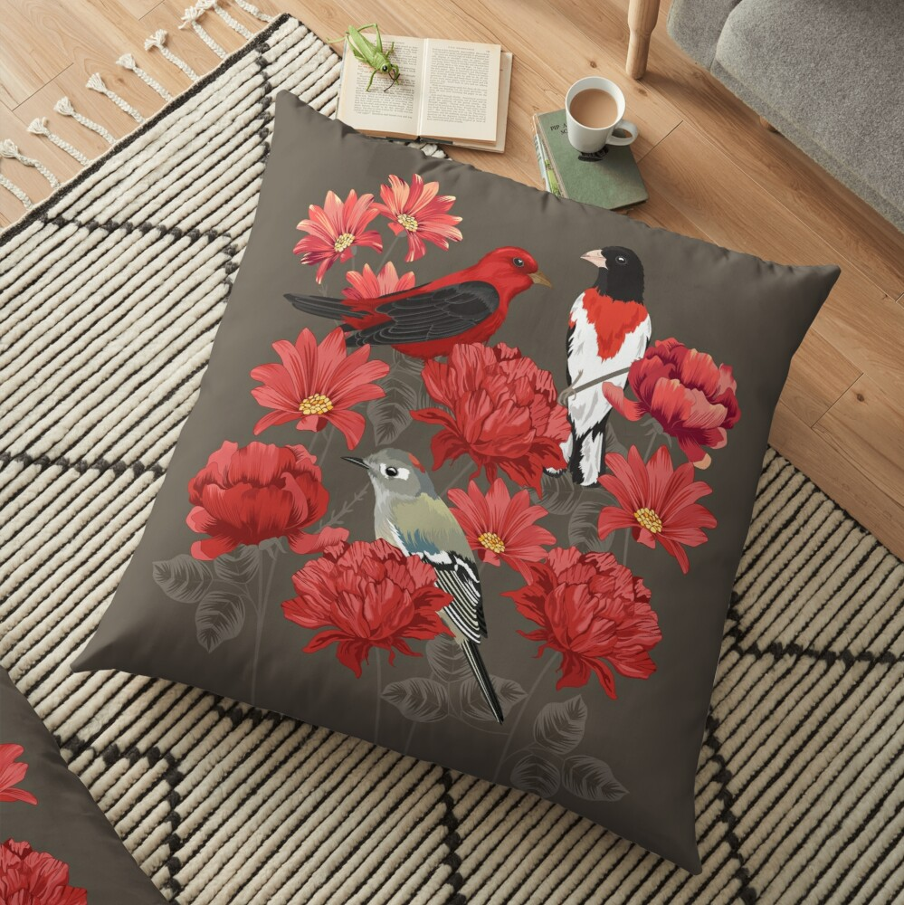 Birds and Roses Floor Pillow