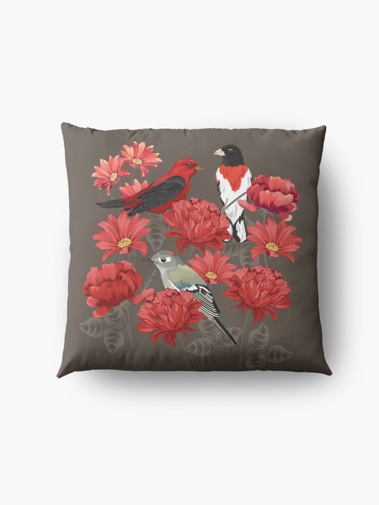 Alternate view of Birds and Roses Floor Pillow