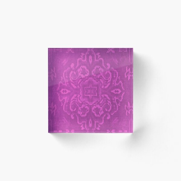 Persian carpet design in magenta Acrylic Block
