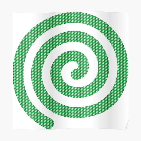 #Green #Spiral #Rug, Symbol, Design, Illustration, sign, shape Poster
