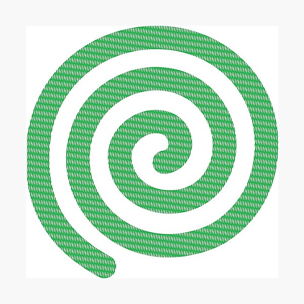 #Green #Spiral #Rug, Symbol, Design, Illustration, sign, shape Photographic Print