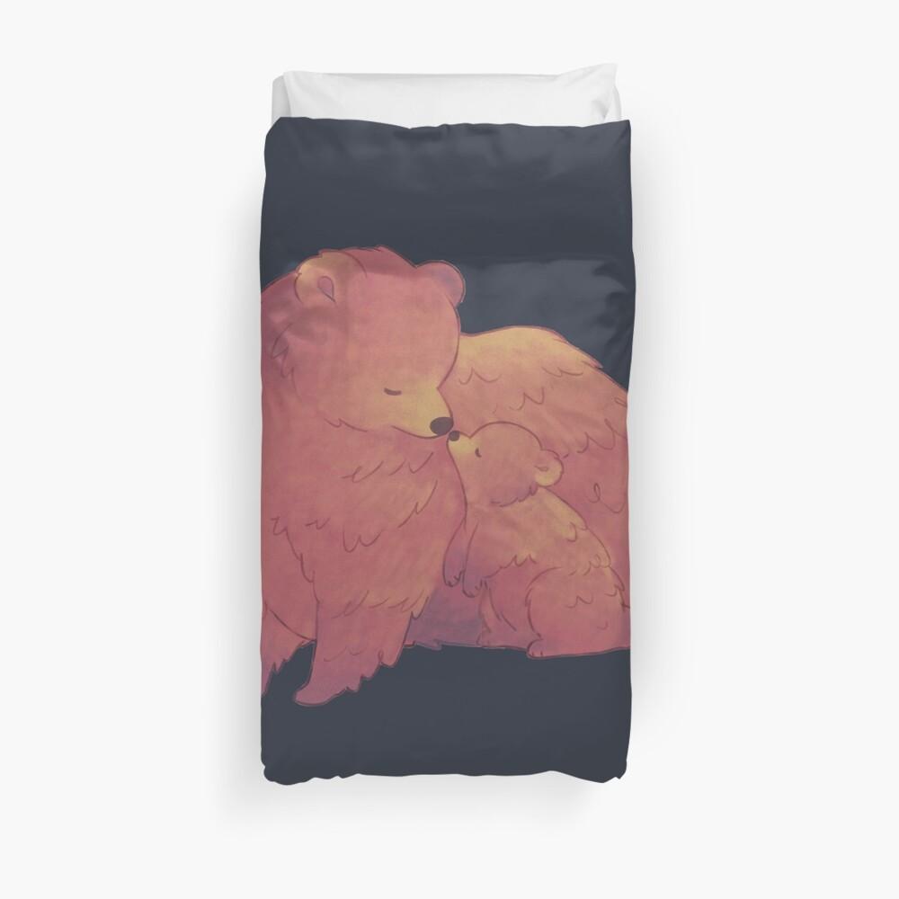 Mama Bear & Cub - [Dark BG] Duvet Cover