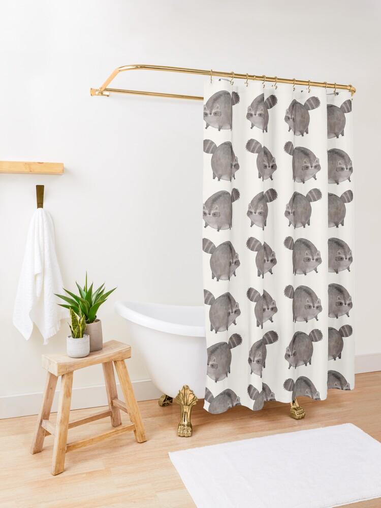 Alternate view of Chubby Trash Panda Shower Curtain