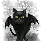 Bat Wing Black Cat  by DianaLevinArt