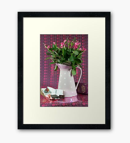 Dot-Choc Roses or I'm Dotty About You:-) Framed Print