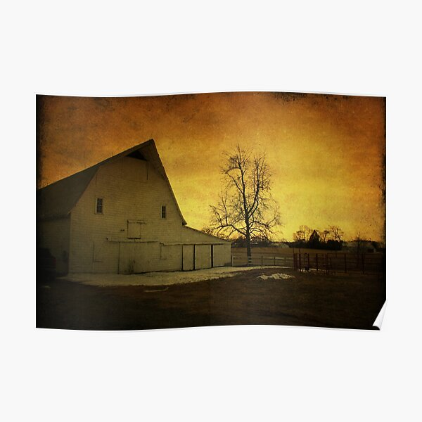 Sunrise on a White Barn Poster