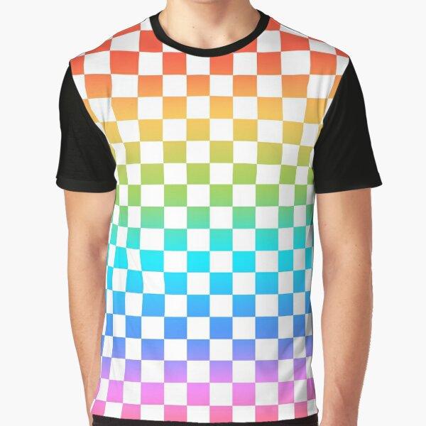 Rainbow Checkerboard  Graphic T-Shirt