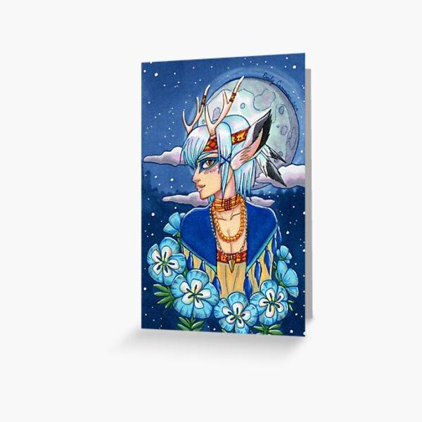 Moonflower Faun Greeting Card